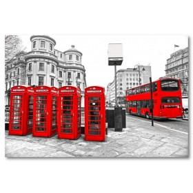 Αφίσα (μαύρο, λευκό, άσπρο, πόλη, πόλη, τηλεφωνικός θάλαμος, Λονδίνο)